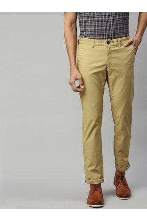 Indian Terrain Men Khaki Brooklyn Slim Fit Self-Striped Regular Trousers