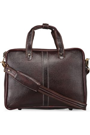 GENWAYNE Men Brown Textured Leather Laptop Bag