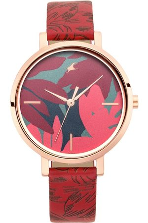 Fastrack Women Red & Rose Gold Analogue Watch