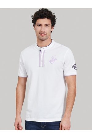 Beverly Hills Polo Club Men Short Sleeve - Men White Solid Mandarin Collar T-shirt