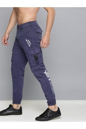 HERE&NOW Men Blue Slim Fit Solid Joggers With Printed Detailing