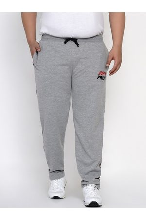 John Pride Men Grey Solid Track Pants