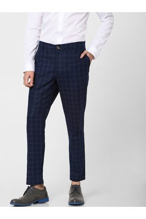 Jack & Jones Men Navy Blue & Yellow Slim Fit Checked Formal Trousers