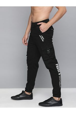 HERE&NOW Men Black Slim Fit Solid Joggers With Printed Detailing