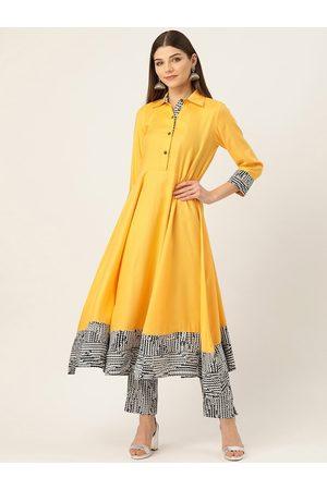 Cottinfab Women Mustard Yellow & White Solid Kurta with Trousers