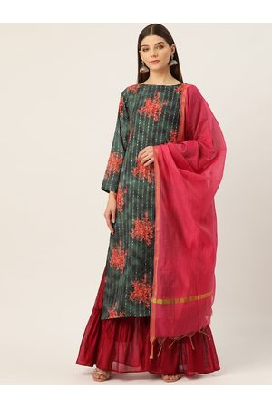 Cottinfab Women Green & Red Floral Print Kurta with Sharara & Dupatta