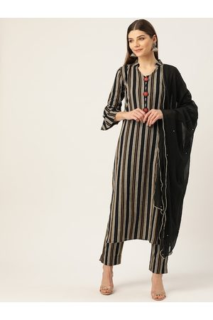 Cottinfab Women Black & Beige Self Striped Pure Cotton Kurta with Trousers & Dupatta