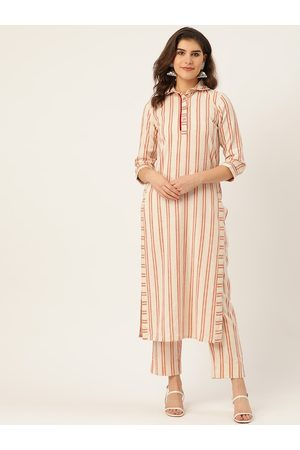 Cottinfab Women Off-White & Red Striped Pure Cotton Kurta with Trousers