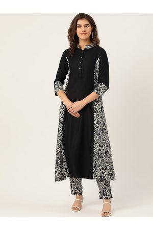 Cottinfab Women Black & White Printed Kurta with Trousers