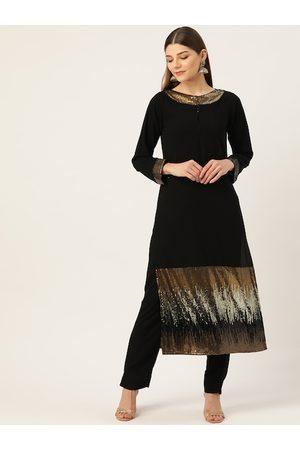 Cottinfab Women Black & Golden Sequinned Detail Kurta with Trousers
