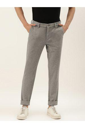 Benetton Men Grey Melange Slim Fit Solid Knitted Regular Trousers