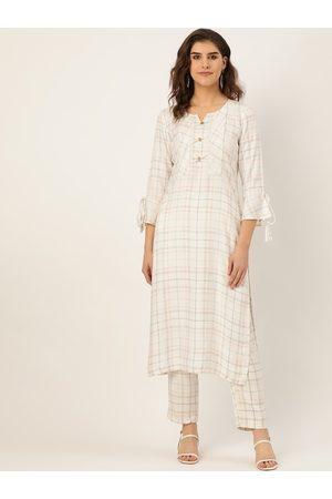 Cottinfab Women Off-White & Grey Checked Kurta with Trousers