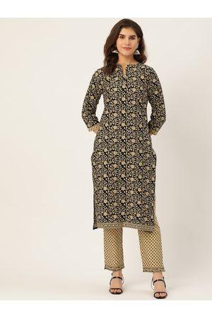 Cottinfab Women Black & Beige Printed Pure Cotton Kurta with Trousers