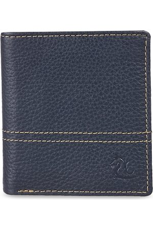 KARA Men Blue Solid Leather Two Fold Wallet