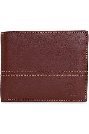 KARA Men Orange Solid Leather Two Fold Wallet