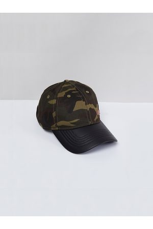 Max Collection Men Olive Green Printed Snapback Cap