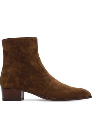 Saint Laurent 40mm Wyatt Suede Boots
