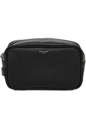 Saint Laurent Logo Leather Toiletry Bag