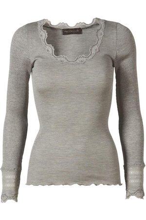Rosemunde Women Long Sleeve - Silk Top Long Sleeve Vintage Lace Light Grey
