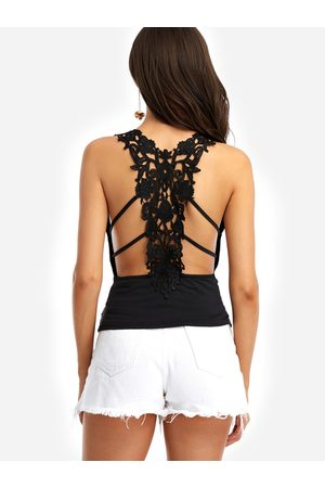 YOINS Sexy V-neck Hollow Out Lace Insert Cami