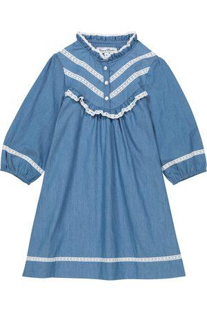 Tartine Et Chocolat Girls Dresses - Lace cotton chambray dress