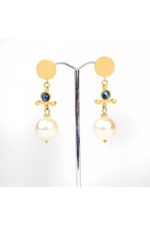 Yunion T Pearl and Semi-Precious Stone Drop Earrings (22ct Plate)
