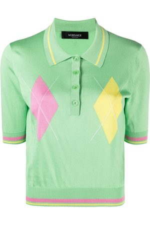 VERSACE Women Polo Shirts - Argyle-print knitted polo top