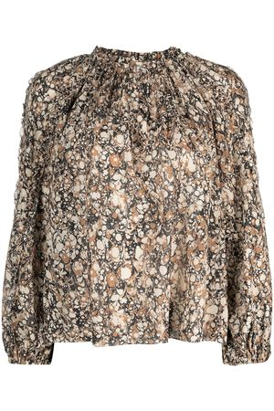 ULLA JOHNSON Women Shirts - Edith marble-print long-sleeved blouse