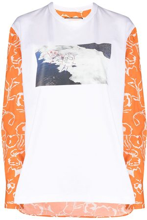 Plan C Graphic-print panelled blouse