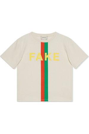 Gucci Boys Short Sleeve - Slogan-print cotton T-shirt