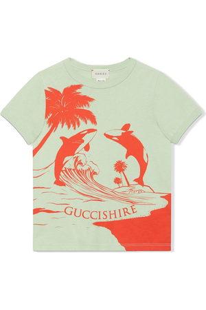 Gucci Boys Long Sleeve - Gucci Shire whale-print T-shirt