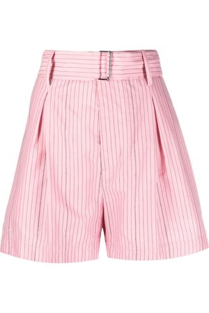 Nº21 Pinstriped belted shorts