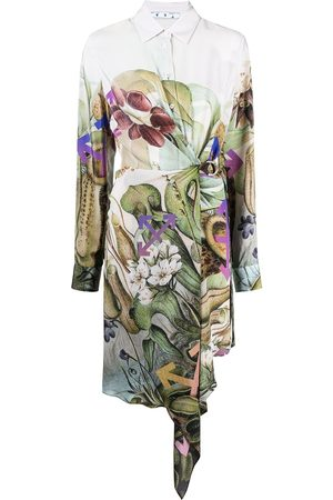OFF-WHITE Botanical-print shirt dress