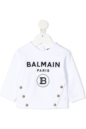 Balmain Sequinned-logo cotton sweatshirt