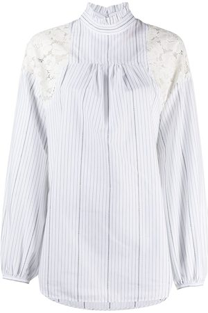 Nº21 Lace-panelled pinstriped blouse
