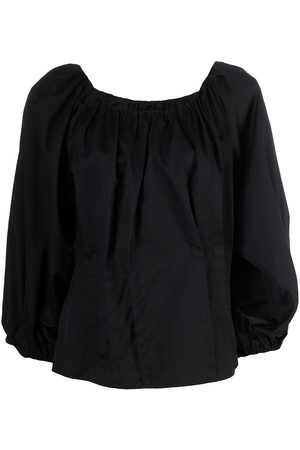 FEDERICA TOSI Gathered silk-cotton blend balloon-sleeve blouse