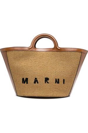 Marni Women Handbags - Logo-embroidered raffia tote bag