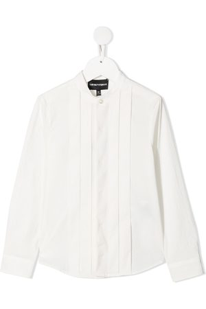 Emporio Armani Boys Long Sleeve - Mandarin-collar cotton shirt