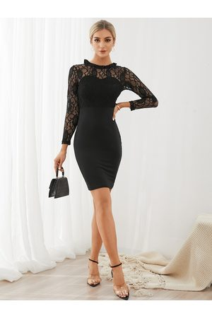 YOINS Lace Insert Crew Neck Long Sleeves Bodycon Dress