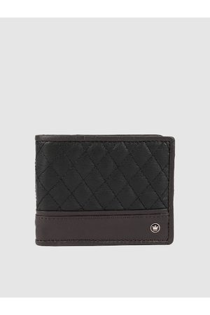 Louis Philippe Men Black & Brown Quilted Leather Two Fold Wallet