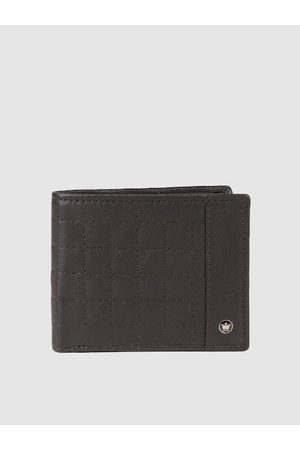 Louis Philippe Men Wallets - Men Coffee Brown Textured Leather Two Fold Wallet