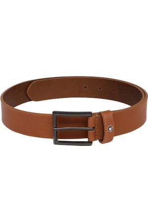 Louis Philippe Men Tan Brown Solid Leather Belt