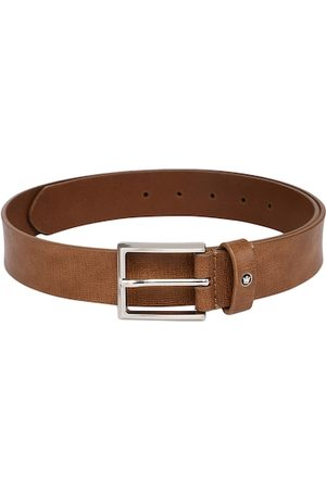 Louis Philippe Men Tan Brown Textured Leather Belt