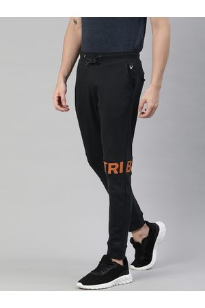 Allen Solly Tribe Men Black Solid Joggers with Printed Detail