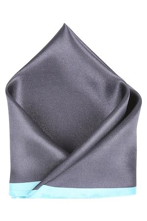 Blacksmith Men Handkerchiefs - Men Charcoal Grey & Turquoise Blue Striped Pocket Square