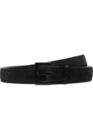 Saint Laurent Men Belts - 2cm Logo-Embellished Suede Belt