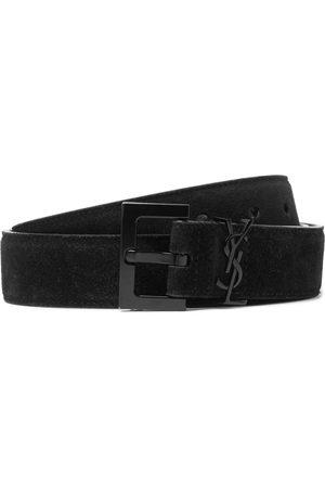 Saint Laurent Men Belts - 3cm Logo-Embellished Suede Belt