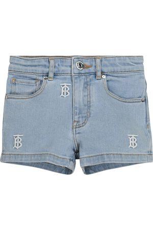 Burberry Girls Denim Skirts - Logo embroidered denim shorts