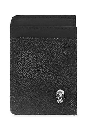 King Baby Studio Small Leather & Sterling Vertical Open Card Holder