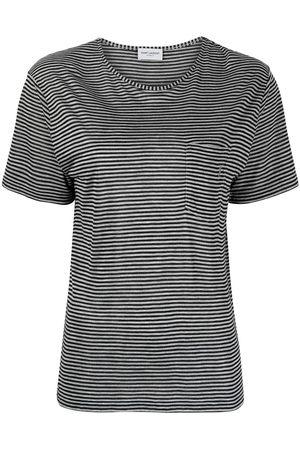 Saint Laurent Women Short Sleeve - Stripe-print short-sleeve T-shirt